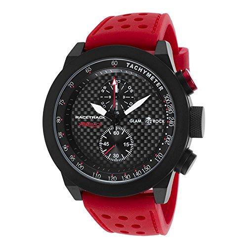 Glam Rock Racetrack Reloj de hombre cuarzo suizo 48mm cronógrafo correa de silicona color rojo GRT29114F-N