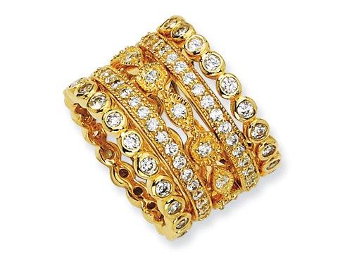 Cheryl M(tm) Sterling Silver CZ Eternity Five Ring Set Size 7