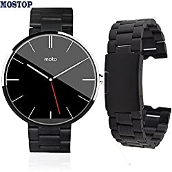 MOSTOP(TM) Replacement Stainless Steel Solid Links Metal Watch Bracelet Wrist Metal Watchband for Motorola Moto 360 Smart Watch with Spring Bar Pins (Smartwatch Not Included) (Black)
