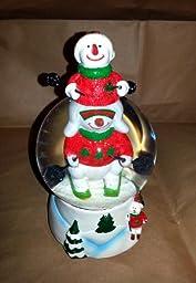 Christmas Skiing Snowman Snow Globe