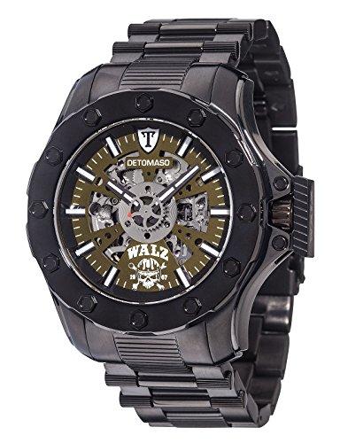 Detomaso Herren-Armbanduhr XL WALZ Edition BENCHMARK Green Trend Analog Automatik Edelstahl DT-W1002-C