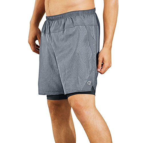 Champion Mens Cool Ctrl Run Shorts With Compression_Concrete/Black_XL