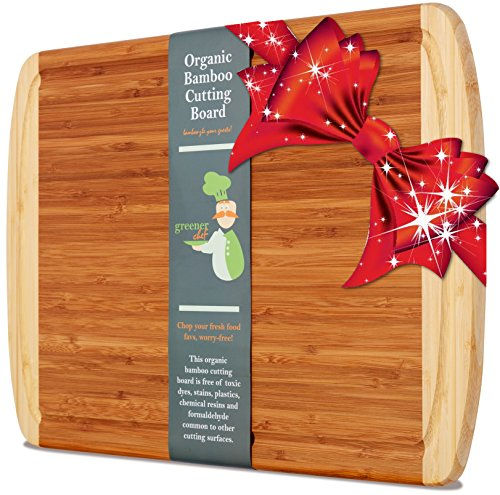 Greener Chef's Best ORGANIC Bamboo Cutting Board & Wood Kitchen Chopping Board with Groove - Extra Large, Thick, and Eco-Friendly - Perfect Christmas Holiday or Housewarming Gift (Cutting Appliances compare prices)