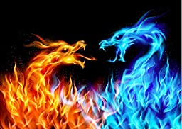 Wallmonkeys WM102478 Blue and Red Fire Dragons Peel and Stick Wall Decals (24 in W x 17 in H)