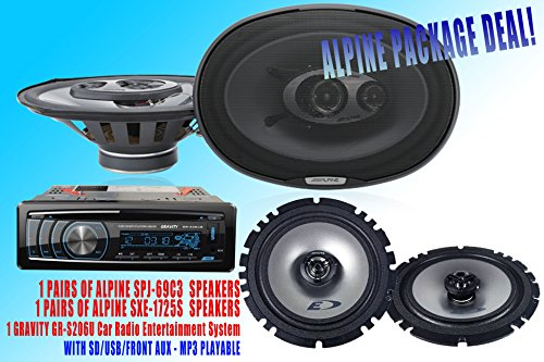 "Alpine Packpage Deal! 1 Pair Alpine 6X9"" Spj-69C3 + 1 Pair Alpine Sxe-1725S 6.5"" Car Speaker + 300W Gravity Agr-S206U Car Stereo Receiver - Built-In Sd/Usb/Front Aux - Mp3 Playable"