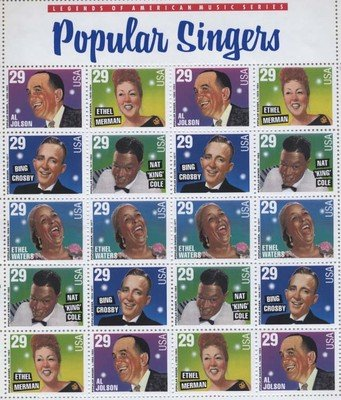 Popular Singers Full Sheet of 20 x 29 cent US postage stamp #2849-53