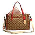 Coach Peyton Multifunction Baby Diaper Laptop Travel Tote Bag Khaki Persimmon