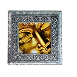MJR Digital Print Carved White Metal Decorative Dry Fruits Box- Golden Buddha Face - 5 x 5 inches.