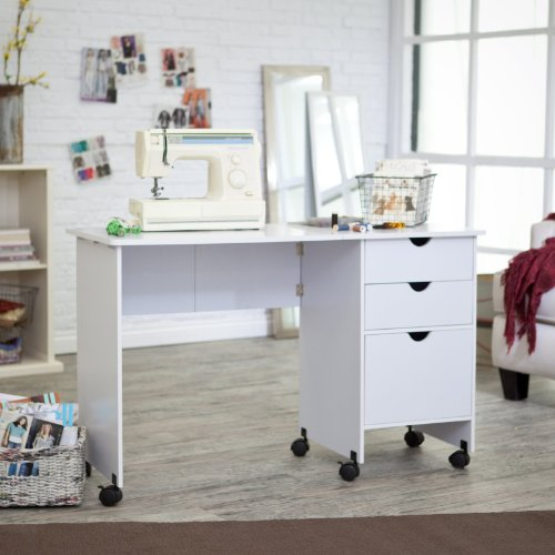 MOTHERS DAY SALE! Beldin Mobile Sewing Desk - White Color - White
