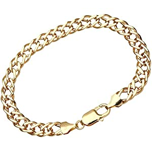 Chainco 9ct Yellow Gold 5.6g Chunky Double Curb Bracelet of 21 cm/8.5 Inch Length and 7mm Width