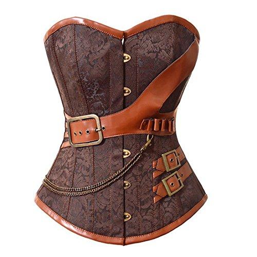 Womens-Steel-Boned-Jacquard-Steampunk-Embroidery-Overbust-Corset-Waist-Cincher