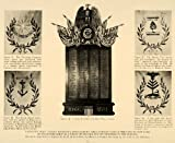 1918 Print Patriotic Wall Tablet Catholic Club New York - Original Print