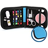 Travel Sewing Kit - Best Professional Sewing Sets for Home, Emergency Repairs, Crafts - Needles and Threads in a Premium Blue Portable Zipper Case - Ideal for Women, Men, Children and Adults