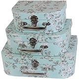 JVL Set of 3 Floral Boudoir Jewellery Bedroom Make-up Storage Boxes Home
