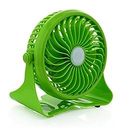 Welltop® Mini Portable Fan 360 Degree Adjustable Wireless Rechargeable Desk Fan Table Fan Electric Personal Fans Stepless Wind Speed Adjustment Fan (Green)