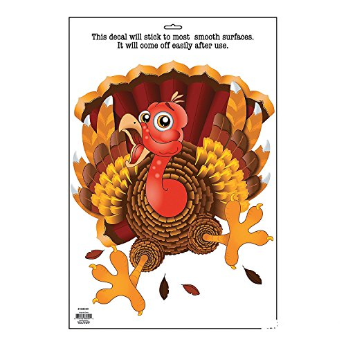 Vinyl Wacky Turkey Window Cling-Thanksgiving/Fall Decorations - 1