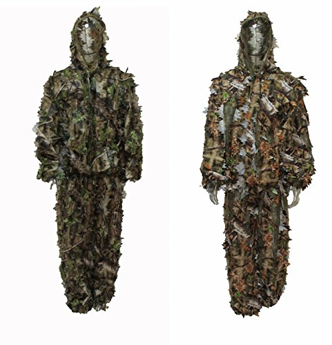Reversible Camouflage Hunting Leafy Ghillie Suit Brown / Green