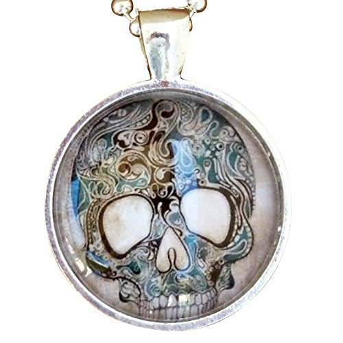 ODDITY-Steampunk-Victorian-Freak-Human-SKULL-goth-pendant-Necklace-Sugar-Skull-Day-of-the-Dead