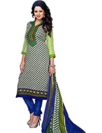 Exotic India Green And Blue Coodidaar Kameez Suit With Printed Bootis - Green
