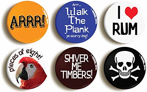 "6 x ""CARIBBEAN PIRATE"" COSTUME PARTY BADGES BUTTONS PINS (1inch/25mm diameter)"