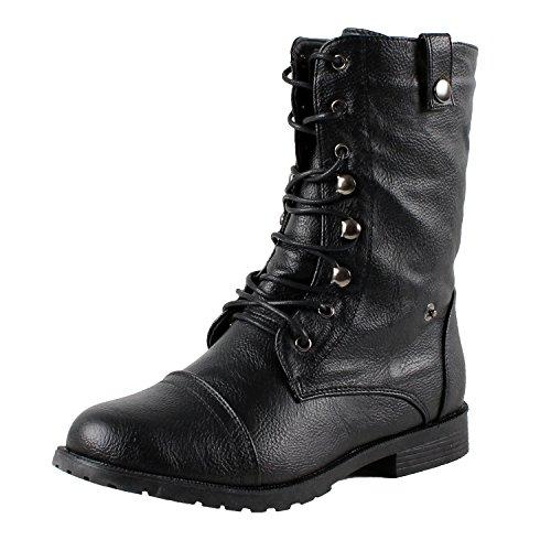 West Blvd Lagos-Combat Riding Boots, Black,