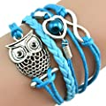 RIUDA Fashion Women Lovely Infinity Owl Pearl Friendship Multilayer Charm Leather Bracelets Gift