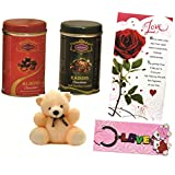 Skylofts 191gms Chocolate Coated Nuts Gift Pack With A Cute Teddy, A Love Card & Love Key Ring