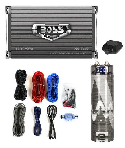 Boss Ar1500M 1500W Mono Car Amplifier + Remote + 2.0 Farad Capacitor + Amp Kit