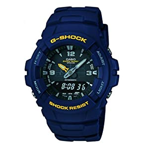 Casio G-Shock Mens Watch G-100-2BVMUR Digital and Analogue with Navy Resin Strap