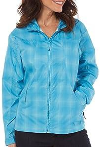 Reel Legends Womens Plaid Windbreaker Jacket Large Hawaiian ocean blue
