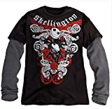 Disney Jack Skellington Tee for Men,black with Gray Thermal Long Sleeves,sz.large