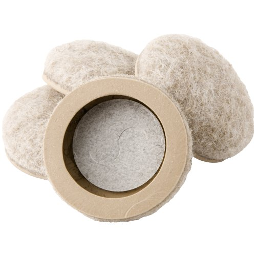 Waxman 4318495N 1 Inch Heavy Duty, Self Stick, Formed Fit Felt Bottom Round Furniture Sliders, 4 Pieces, Oatmeal front-753351