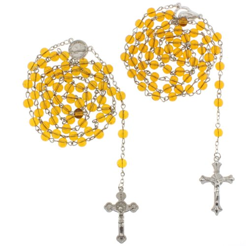 Saint Benedict and Madonna Yellow Glass Bead Rosaries - 6mm Beads - 28'' Necklace Length, 25'' Overall - Sold as a Set of 2