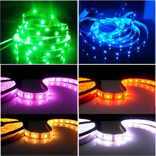 Happy Hours® Non-Waterproof 30 Led/M Rgb Color Changing Smd 5050 High Density Led Light Strip Lamp Kit Ideal For Chrismas, Party, Indoor/ Outdoor Decoration + 44 Key Remote Controller + 12 Volt Power Supply Pack Of 20 Meters