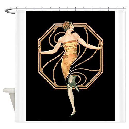 CafePress - Art Deco Flapper Woman - Decorative Fabric Shower Curtain (Art Deco Shower Curtain compare prices)