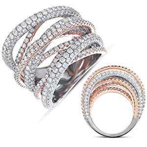 14K Two Tone Gold 6.47cttw Round Diamond Fashion Ring