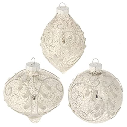 Transparent Flocked White Swirl 4-inch Antiqued Ornaments - Set of 3 by RAZ Imports