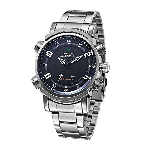 Kano Bak Led Display Alarm 30 Meters Waterproofed Stainless Steel Gift Men Mens Casual Business Sport Military Quartz Wrist Watch Watches Black Kb1101