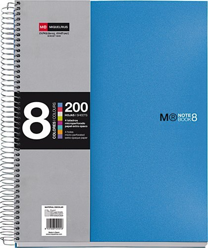 basicos-mr-42005-notebook-8-colours-a5-200-sheets-squared-polypropylene-blue