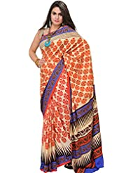 Exotic India Antique-White Saree With Printed Flowers And Ari-Embroi - Off-White