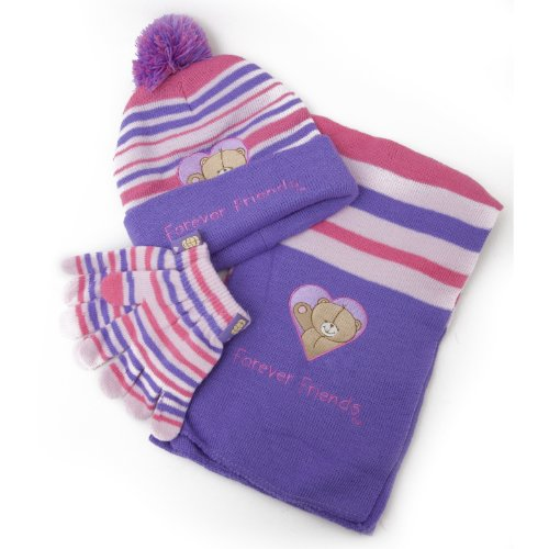 Childrens/Kids Girls Forever Friends Winter Hat, Gloves, Scarf Set (Lilac Striped)