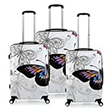 #10: Tramp & Badger 360Â Rotating Wheels, Butterfly Printed Pattern Non-Breakable & Extra Light Weight Trolley Bag- Multi-Colour (Set of 3, Cabin Size)