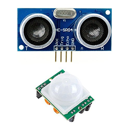 1 Pack HC-SR501 PIR Pyroelectric IR Infrared Motion Sensor + HC-SR04 Ultrasonic Distance Sensor for Arduino, Raspberry Pi, and other microcontrollers
