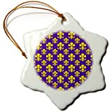 3dRose Orn_31334_1 Fleur De Lis Pattern In LSU Colors Dark Purple And Canary Yellow-Snowflake Ornament, Porcelain...