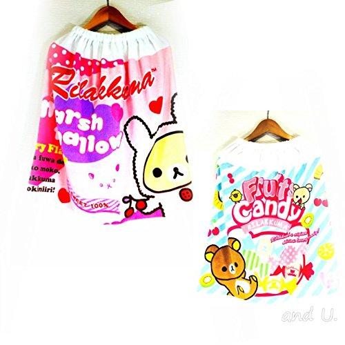りらっくま ラップタオル 巻きタオル M (縦60×横120cm) ラップタオル キャラクタータオル (Pink)