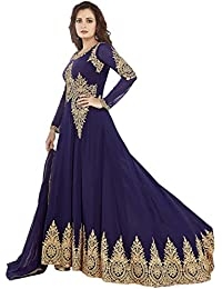 ARYAN FASHION New Designer Navy Blue Long Anarkali Suit Semi-Stitched Suit ( Bottom Unstitched)
