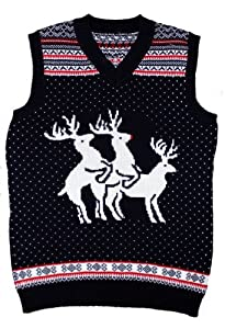 Ugly Christmas Sweater - Reindeer Threesome Naughty Sweater Vest by Skedouche