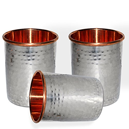 Prisha India Handmade Drinking Stainless Steel Inside Copper Glass From India, Set Of 3
