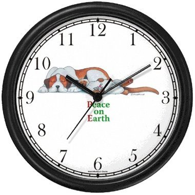 Peace on Earth - Sleeping Brown White Dog Cat Cartoon or Comic - JP Animal Wall Clock by WatchBuddy Timepieces