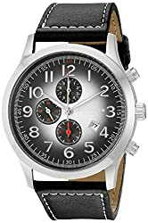 Akribos XXIV Mens AK603SS Essential Chronograph Quartz Leather Strap Watch